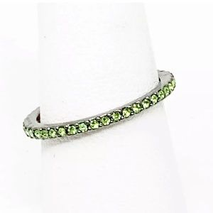 Henri Bendel green crystal stacking ring size 7